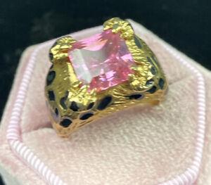 Kenneth Jay Lane Ring Leopard Gold Tone Pink Gem Enamel Vintage Estate