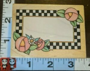 Checkerboard frame, flowers, pretty, c,718, all night media,wood,rubber stamp