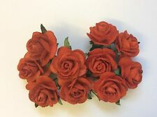 10 RED ROSE (2.5cm) Mulberry Paper Flowers wedding crafts card