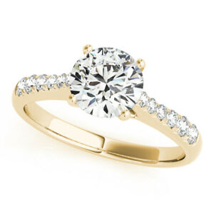 1.20 Ct Moissanite Round Cut Yellow Gold Engagement Ring 14K Solitaire Girl ring