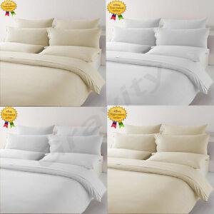 Luxury Plain 100% Egyptian T-400 Cotton Duvet Cover Pillow Cases Set All Sizes