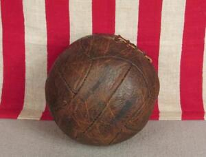 Vintage 1960 France Robert Jonquet Leather Soccer Ball w/Laces 12-Panel Football