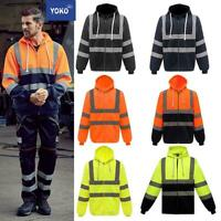 Yoko Hi-Vis Men's Zippered Polyester Hoodie HVK07-Safety Work Wear Jacket Fleece