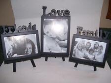 "NEW FAMILY PHOTO FRAMES ST/3 ""FAMILY LOVE FRIENDS ON EASEL BLACK 4 X 6  5 X 7"