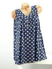 Shirt mit Kette Top Tunika Lagenlook Größe 46 - 52 one size blau weiß  Punkte w