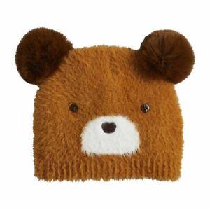 Mudpie - Brown Fuzzy Bear Knit Hat (3-18 Months) - 16010133B