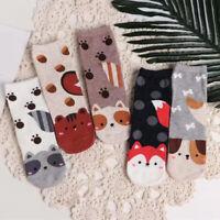 Women Fox Print Cotton Socks Christmas Socks Casual Winter Warm Short Socks New