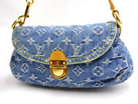 LOUIS VUITTON Mini Pleaty Hand Bag Shoulder Bag Monogram Denim Blue M95050 V4366