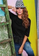 DENNY ROSE MAGLIA blusa t-shirt art. 51dr62001 NERA con piume tg. XS e S