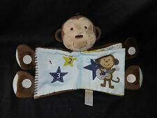 CARTER'S SOFT BABY BROWN MONKEY ACTIVITY BOOK STUFFED ANIMAL PLUSH TOY SQUEAKS