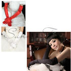 For Party Evening Wedding Ladies Beautiful Bridal Satin 55cm Long Finger Gloves