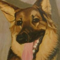 Vintage Original Oil Painting German Shepard Country Folk Art Primitive