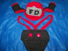 Newborn Fireman Hat, Diaper Cover & Bootie Set