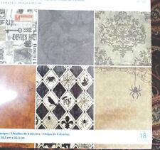 "12"" Halloween Scrapbook Paper 18p Victorian Steampunk advertising Gothic Wicca"
