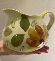 Vintage Hand Painted Ceramic Small Pitcher/Vase Floral Made In Portugal