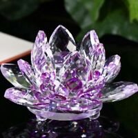 LARGE PURPLE CRYSTAL LOTUS FLOWER ORNAMENT WITH GIFT BOX  CRYSTOCRAFT HOME DECOR