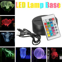 ABS Acrylic Black 3D LED Lamp Night Light Base + USB Cable + Remote Control US