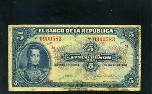 COLOMBIA,- $5.00 PESOS  BANKNOTE,-BANCO DE LA REPUBLICA.- Circulated   >1928