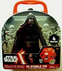 *2* Star Wars 3D Bubble Tin 4 Piece  Lightsaber, Bubbles, Glasses, Tin Box NEW