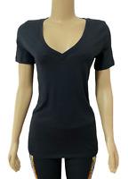 Victorias Secret PINK Everyday Solid V-Neck Tee T-Shirt Top Black
