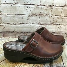 Eastland Women's Brown Leather Adjustable Strap Slip On Mules Clogs Size 8.5 M