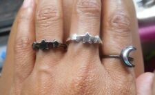 Lot of 3 Black Silver Tone Stars and Crescent Moon Rings Size 6.5-7 and 8