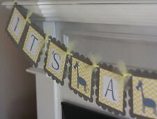 """Yellow Grey Chevron - """"Mommy to Be"""" Giraffe Baby Shower Party Banner"""