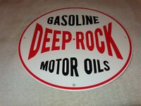 "VINTAGE DEEP ROCK MOTOR OIL SINCLAIR 11 3/4"" PORCELAIN METAL GASOLINE & OIL SIGN"