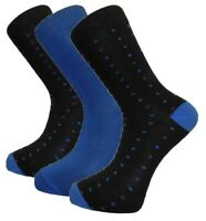 3 Pairs Mens Alexander Green Spotted Bamboo Socks, Black Blue Purple, Size 7-11