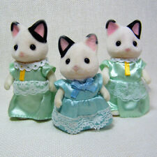 Sylvanian Families TUXEDO CAT Family, Three Loose Figures