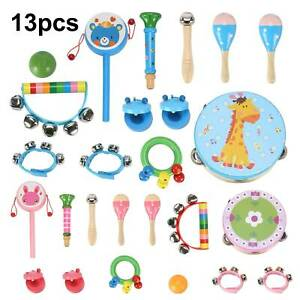 13 Pcs Set Wooden Kids Baby Musical Instruments Toys Child Toddlers Percussion