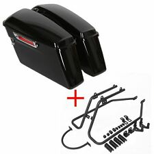 04-Up Harley Sportster Black Hard Saddlebags Saddle Bag & Conversion Brackets