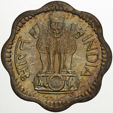 1968 INDIA 10 TEN PAISE BEAUTIFUL COLOR UNC RAINBOW TONED GEM BU (DR)