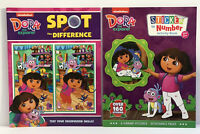 New Lot of 2 Dora The Explorer Sticker by Number & Spot The Difference Kid Books