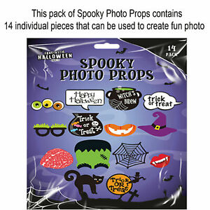 14PK HALLOWEEN PHOTO PROPS Booth Selfie Scary Theme Party Home Decorations