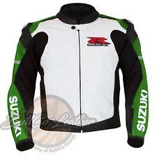 Moto Leather Biker Jacket SUZUKI 1078 Riding Green Motorbike Motorcycle Clothing