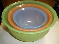 Set of 3 TUPPERWARE Impressions Mixing Bowls No Lids Storage green, orange, blue