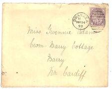 RR69 1892 Go WALES SWANSEA 1d Lilas Housse * MCG Barry Cottage * {samwells couvre -}