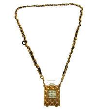 RARE!! CHANEL Vintage CC Logos Gold Chain Perfume Pendant Necklace AK36826k