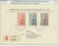 LIECHTENSTEIN 1954 MADONNA SET ON REG. FIRST DAY COVER TO GERMANY (SEE BELOW)