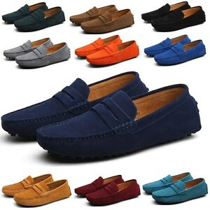 Men's loafers suede leather slip on driving moccasin slippers penny boat shoes