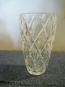 VINTAGE CRYSTAL VASE STANDS 8 INCHES HIGH DIAMOND PATTERN MINT