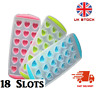 Easy Pop Out ICE CUBE TRAY 18 Heart Flower Round Silicone Mould Jelly Shots