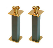 24k Gold & Silver Plated Metal Shabbat Candle Holders In Green From Israel KOREM