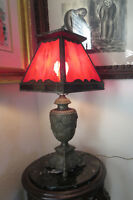 Antique Victorian Embossed Cast Iron Red Slag Stained Glass Lamp