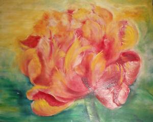 Vintage large impressionist oil painting flower