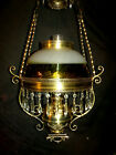 ANTIQUE MILLER HANGING OIL LAMP (AMBER SWIRL FRANCISWARE SHADE)