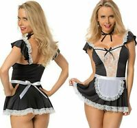 Sexy French Maid Fancy Dress Ladies Costume Outfit Hen Party Naughty Girl 8 - 16