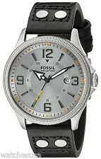 Fossil FS4937 Recruiter Silver Dial Leather Strap Men's Watch