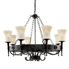 Searchlight 8 Lights Black Cartwheel Traditional Iron Ceiling Fitting Chandelier
